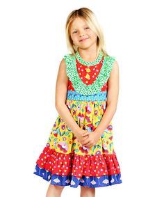 Look at this #zulilyfind! Aqua Picnic Parker Dress - Infant, Toddler & Girls by Jelly the Pug #zulilyfinds