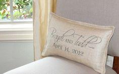 Wedding Date Pillow /  Oatmeal linen fabric /  by myvintagemonkey, $66.00