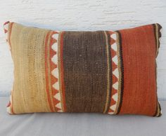 Vintage Lumbar kilim pillow cover 12 x 20 by pillowsstore on Etsy