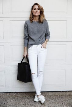 Pair white jeans with a gray sweater | http://www.hercampus.com/school/aberdeen/white-jeans-through-seasons