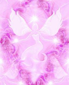 Angel Art Reiki Energy Art Pink Wall Decor Healing Art Print