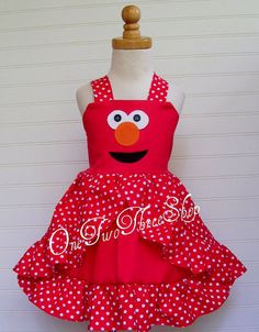 Custom Boutique Clothing Elmo Sesame Street Halter Dress