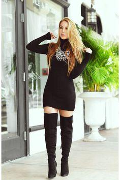 JustFab boots - Hot Miami Styles dress