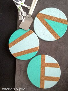 DIY Coasters - Best Quick DIY Gifts and Home Decor - Easy Step by Step Tutorials for DIY Coaster Projects - Mod Podge, Tile, Painted, Photo and Sewing Projects - Cool Christmas Presents for Him and Her - DIY Projects and Crafts by DIY Joy The Coasters, Cork Crafts, Diy And Crafts, Azulejos Diy, Washi, Sous Bock, Coaster Design, Coaster Set, Deco Originale