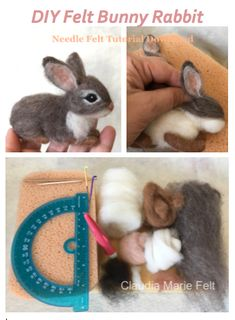 DIY Needle Felt Bunny Learn to make a needle felt bunny rabbit from fiber artist Claudia Marie. 12 pages, photos, detailed instructions. Needle Felted Animals, Felt Animals, Felt Diy, Felt Crafts, Felt Bunny, Bunny Rabbit, Felt Animal Patterns, Doll Patterns, Needle Felting Tutorials