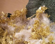 Gold on Calcite from Olinghouse Mine, Nevada, USA