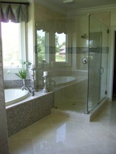 bathroom; I want a set up like this!  The only change would be frosted shower doors!