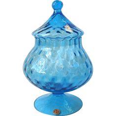 Vintage Empoli Italy Art Glass Blue Candy Jar Diamond Optic found at www.rubylane.com @rubylanecom