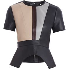 This structured top is an elegant option for infusing your wardrobe with modern flair. Crewneck. Short sleeves. Color-blocking. Peplum hemline with slits. Expo…