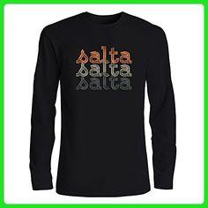 Idakoos - Salta repeat retro - Cities - Long Sleeve T-Shirt - Retro shirts (*Amazon Partner-Link)