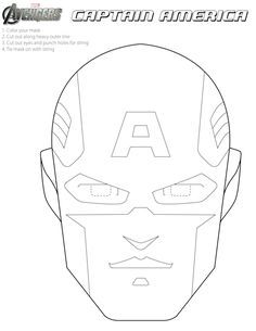 Free Printable Halloween Masks to color. - Visit to grab an amazing super hero shirt now on sale! Captain America Maske, Captain America Party, Captain America Birthday, Avengers Birthday, Superhero Birthday Party, Printable Halloween Masks, Printable Masks, Free Printable