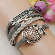 Infinity Owl Silver Leather Hope & Friendship Bracelet – The Jewelry Store