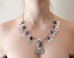 Taxco Silver Amethyst Necklace - Art Deco Repousse Dangles - Pre 1948 Mexican Sterling - Amethyst Cabochons - 9 Links 100 Grams - 19 In, C$975.00