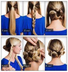 1、左右の前髪を残し、後ろ中央に三つ編みをします 2、くるっと丸めてまとめ、ピンで固定します 3、左右も三つ編みします 4、中央お団子に寄り添う位置で、くるっと丸めてピンで固定すれば完成です