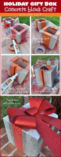 Cement Brick Holiday Gift Box Tutorial with Frog Tape®  #TexturedSurface #ad
