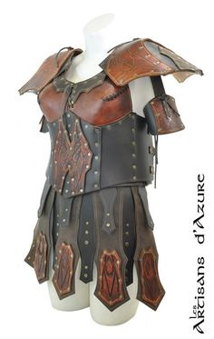 Valkyrie's Armor with Skirt and Pauldrons - Leather Armor for LARP Larp Armor, Dwarven Armor, Barbarian Armor, Viking Costume, Valkyrie Costume, Larp Costumes, Warrior Fashion, Costume Armour, Armor Clothing