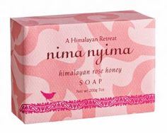 Himalayan Rose Honey Soap - another find at NYC's flea market today. Nima nyima soaps are hand made in Nepal, cold-processed, all natural and biodegradable. Pretty packaging too.