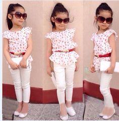2015 Summer Girls clothing set kids girls Europe and America printed cotton t shirt+ cottton pants+belt 3 pieces clothing sets
