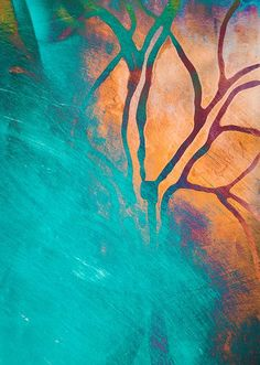 Fire And Ice Abstract Tree Art Teal Mixed Media by Priya Ghose