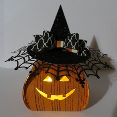 Stampin' Up Pumpkin Witch Curvy Keepsake Box re-created and updated with Battery Lights by Lynn Gauthier. Go to lynnslocker.blogs... and lynnslocker.blogs... for details on how to make this project.
