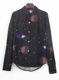 #SheInside Black Wing Collar Galaxy Print Curved Hem Blouse - Sheinside.com
