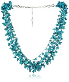 """Kenneth Cole New York """"Urban Seychelle"""" Semi-Precious Turquoise Chip Multi-Row Necklace - designer shoes, handbags, jewelry, watches, and fashion accessories 