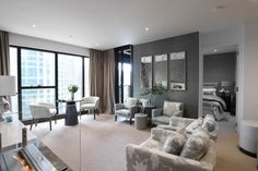 With a brief to turn a blank canvas into a comfortable, luxurious and functional interior, Bernadette Ferrari of Ferrari Interiors, transformed a two-bedroom premium Melbourne city apartment into the perfect… Home Design Decor, House Design, Interior Design, Two Bedroom, Melbourne, Pearls, Luxury, Homes, Interiors