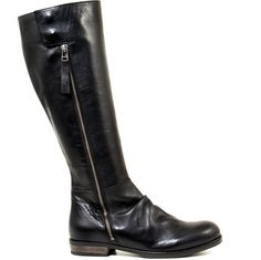 """If you are in search of a classic knee high that will compliment any part of your wardrobe, you have found it! The Go Out by Yuko Imanishi+ is the defintion of the perfect complimentary knee-high boot. Its elegant black leather makes it easy to wear, along with a side zipper closure that adds a bit of an edgy touch to the look. When dressing to """"go out"""" you'll never have to think twice about this boot!"""