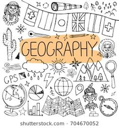 Vector back to school illustration. – Buy this sto… Geography hand drawn doodles. Vector back to school illustration. – Buy this stock vector and explore similar vectors at Adobe Stock 2nd Grade Geography, Five Themes Of Geography, Geography Lesson Plans, Middle School Geography, Geography Classroom, Geography Worksheets, Geography Activities, Geography For Kids, Teaching Geography