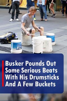 A good drum set isn't cheap. But there are less expensive alternatives and this musician demonstrates the incredible sound you can get from one of the cheapest. #drummer #drums #buckets #instrument #entertainment #music #talent #busker #busking #Australia