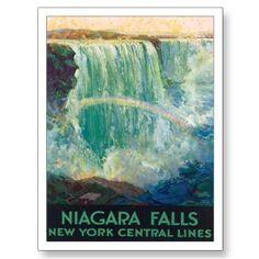 Vintage Niagara Falls Travel Poster Art postcard