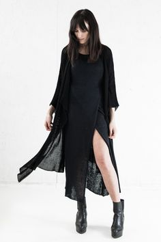 The perfect kimono robe in black bamboo by Morph Knitwear