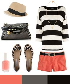 Black & white stripes with coral