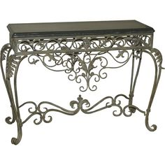 Ornate Wrought Iron Scroll Console table with black marble top