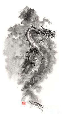 Water Wind Dragon Dragons Sumi-e Ink Painting Chinese Zodiac Five Elements Fantasy World Art Painting by Mariusz Szmerdt