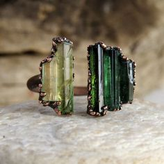 Raw tourmaline split ring  Copper electroformed by LaurelinJewelry