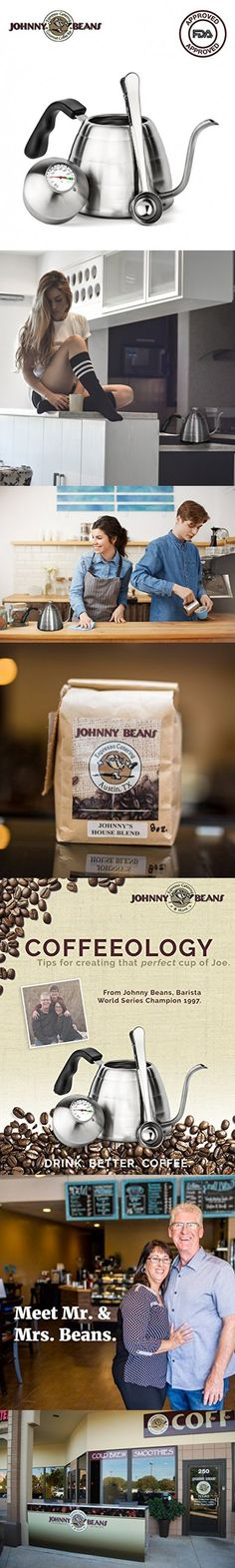 Pour Over Coffee Kettle - Gooseneck Spout and Built In Thermometer by Johnny Beans; Barista World Series Champion 1997! Johhny's Coffeeology Included!