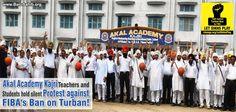 Akal Academy Kajri Teachers and Students hold silent Protest against FIBA Ban on Turban !