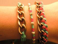 Fuchsia Multi Bracelet Set: Stacking Bracelet Set, Chain Bracelet, Beaded Bracelet, Cotton Cord, Multi Bracelets on Etsy, $15.00