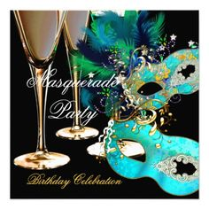 Masquerade Birthday Party Teal Blue Gold Masks Invitations