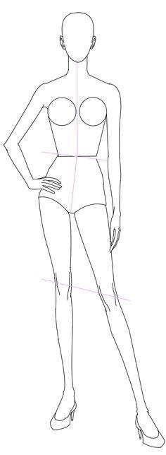 Female Croquis Fashion Drawing Tutorial, Fashion Figure Drawing, Fashion Model Drawing, Fashion Drawing Dresses, Fashion Design Sketchbook, Fashion Design Drawings, Fashion Sketches, Fashion Figure Templates, Fashion Design Template