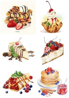 Discover recipes, home ideas, style inspiration and other ideas to try. Dessert Illustration, Watercolor Illustration, Cute Food Art, Cute Art, Food Art Painting, Art Paintings, Original Paintings, Original Art, Desserts Drawing
