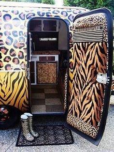 This is what I call Glamping! Leopard Boler door/interior - Traveling in Style! Animal Print Camper Trailor ~ notice the cork board door under the counter Motif Leopard, Cheetah Print, Leopard Prints, Leopard Decor, Retro Campers, Happy Campers, Vintage Campers, Camping Glamping, Camping Fridge