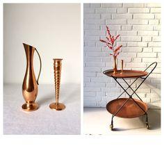 Vintage Vasen Kupfer, Set von zwei, Kerzenhalter Mid Century, Kupfer Dekoration, Vintagedekoration, Krug Messing von moovi auf Etsy