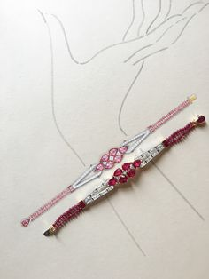An important Burmese ruby and diamond bracelet in the Art Deco style. Pictured with its working drawing in gouache and Chinese ink.