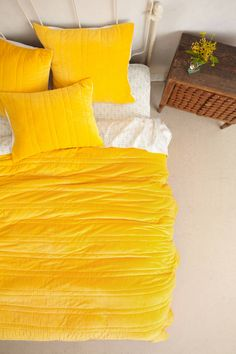 Stitched Yellow Velvet Quilt - anthropologie.com Beautiful!