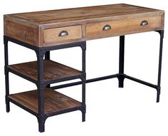 LOVE THIS DESK!!! Reclaimed Wood Rustic Iron Industrial Loft Desk - desks - Kathy Kuo Home