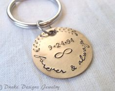 Bronze Key Chain Date Tag Calendar charm. by PersonalizedTreazure