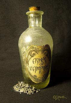 Ashes of Vampire This was a really quick to create, prop making palette cleanser between projects. The only unique trick used on this one that I've never done before on other such bottles was scratching up the glass with heavy grit sandpaper so it felt more antique. I like the effect and will definitely do more often.