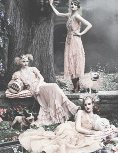 Sasha Pivovarova, Guinevere Van Seenus & Caroline Trentini set in a lavish wood setting are styled by Grace Coddington in 'Paris, Je t'aime' shot by Steven Meisel for Vogue US September 2007 Featured in 'The September Issue' this picture was famously pulled from the issue, much to Grace Coddington's annoyance.